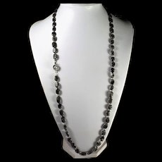 Black Rutilated Quartz, Necklace, Bracelet, Earrings, 34 Inches