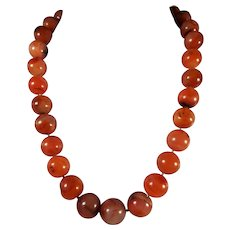 Large, Orange Carnelian, Bead, Statement Necklace, 219 Grams, 23 Inches, with matching earrings