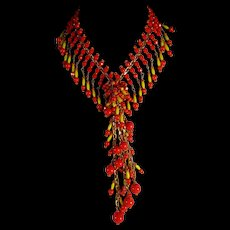 Unique, Stunning Two Tone, Colorful, Red And Yellow, Mixed Glass, Mixed metal, 160-18.5 Waterfall Necklace
