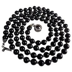 38 inch, Certified, Natural, Black, Jadeite, Black Diamond Clasp Necklace, Earrings