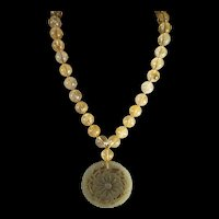 Natural Floral, Hetain Jade, Openwork Pendant, Golden Rutilated Quartz, Bead Necklace, 20 Inches, Earrings