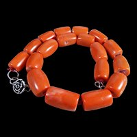 Polished , Precious, Salmon Coral, Log Necklace, 19 inches, 152.2 Grams