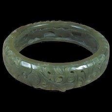 Dark Celadon Green, Carved Jade  Bangle,  61.5 MM