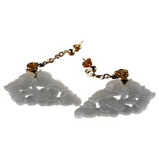 Floral Carved, Nephrite Jade, Dangle Earrings