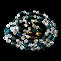 Natural Rock Crystal With Apatite Necklace, 37 Inches, Earrings