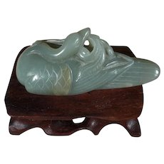#4 of 6,  Vintage, Hand Carved, Chinese, Natural, Nephrite Jade, Mandarin Duck Figurine, with Wood Stand