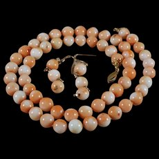 Undyed, Japanese Momo, Coral Necklace, 23 INches, Earrings , 70 Grams, 14k Gold