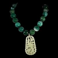 Certified, Openwork, Nephrite Jade, Bird Pendant, 18mm Agates, 18 Inches, Earrings