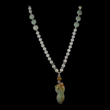 Certified Unprocessed Jadeite, Peanut Pendant, Jadeite Beads, 22 inches, Earrings