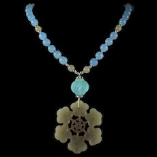 Natural Nephrite Jade Floral Pendant, Blue Glass Beads, 23 Inch Necklace, Plus Earrings