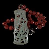 Nephrite Jade, Openwork, Bird, Flower Pendant, Cherry Quartz, 19 Inches, Earrings