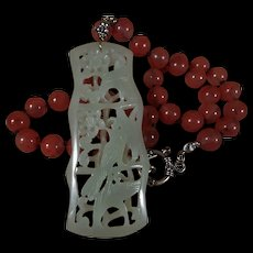 Nephrite Jade, Openwork, Bird, Flower Pendant, Cherry Quartz, 19 Inches, Earrings