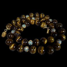 Top Quality, Large Tiger Eye Beads With Chinese, Enamel Accent Beads, 28 Inches, Earrings