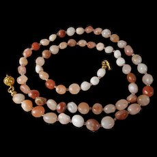 Natural Peruvian, Tumbled Opal, Necklace, Earrings, 25 Inches