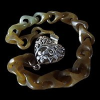 100% Natural, Certified Nephrite Jade, Carved Link Bracelet, With Earrings, Customized For You.