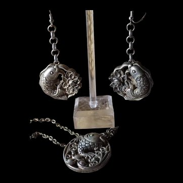 Vintage, Chinese Miao, Silver Alloy, Pendant Necklace, Earrings