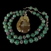 Undyed Brown Nephrite Jade, Ground Dragon, Natural Green Serpentine Beads, 23 Inches, Earrings