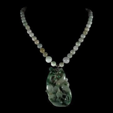 Chinese, Two Color, Openwork, Certified Jadeite Pendant, Jadeite Beads, Earrings