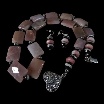 Strawberry Quartz Rectangle Beads With, White Band, Black Agates, Earrings, 27 Inches