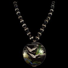 Large, Cloisonne Black Pendant, Single White Band, Agate Necklace, 20 Inches, Earrings