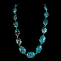Natural  Spiderweb Turquoise. Statement Necklace , 29 Inches, Matching, Chandelier Earrings
