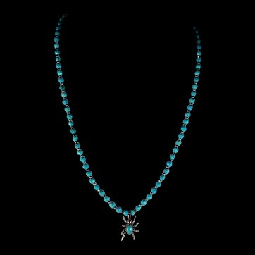 Dainty, Turquoise Spider, Necklace  And Earrings, 21 Inches