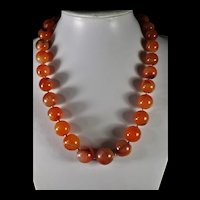 Natural, Earth Mined, Carnelian Statement Necklace, 23 Inches, Earrings