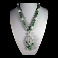 Chinese, Jadeite, Aventurine Statement Necklace, Earrings, 22 inches, ( Heavy )
