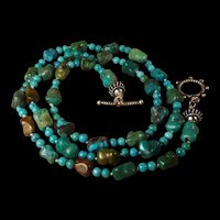 Natural, Hubel, Chinese Turquoise Nugget, Necklace, 29 Inches, Earrings