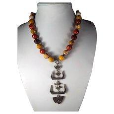 Taxco, Eagle 3, Marked Fish Skeleton Pendant, Mookaite Jasper, 19 Inch Necklace, Earrings