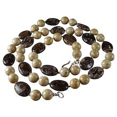 Fossilized Turritella Agates, With Painted Jasper, Necklace, 27 Inches, Earrings