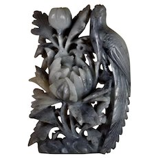 Large, Soapstone, Carving,  Peony Flower And Bird