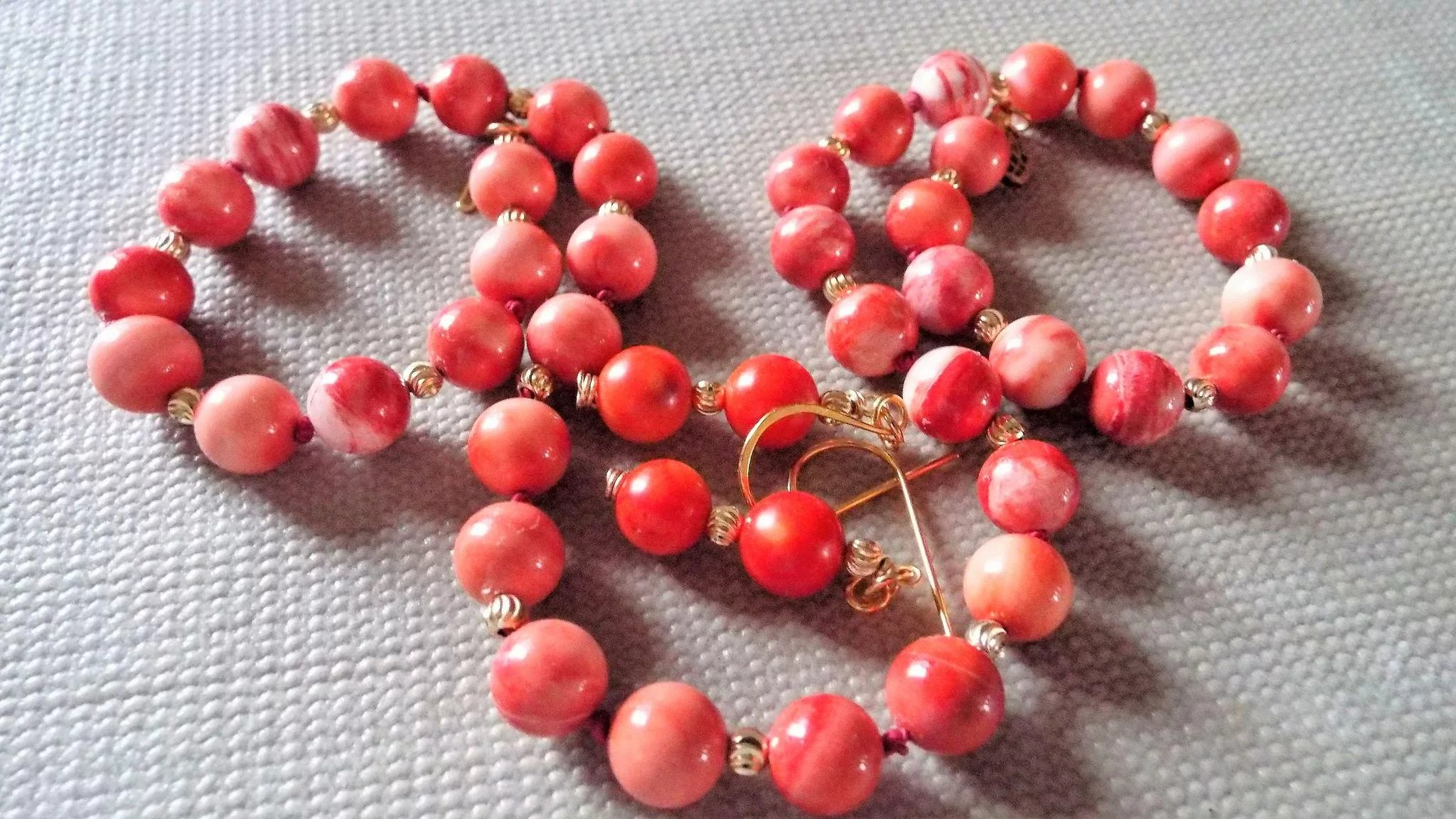 Momo Coral Necklace Plus Earrings Montanasplace Ruby Lane