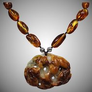 Natural Carved Brown Jadeite Pendant With Honey Baltic Amber Beaded Necklace, Earrings To Match