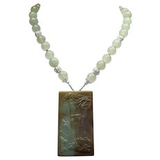 Chinese Carved Bamboo Jadeite Pendant, Aquamarine Beaded Necklace With Earrings
