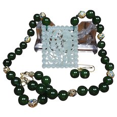 Natural  Openwork Pendant , Spinach Green Nephrite Jade Beaded Necklace Earrings