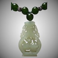Chinese Jade Pendant, Spinach Green Jade Beads, Necklace