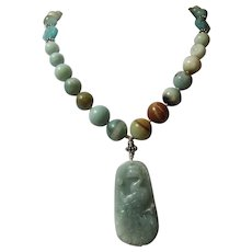 Chinese Carved  Jadeite Pendant, With Graduated  Amazonite Round Beads