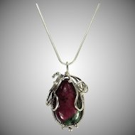 Natural Ruby In Zoisite Pendant. Sterling Silver