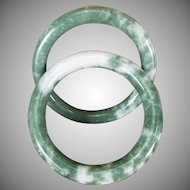 Pair Of Dark Green And Mottled White Jadeite Bangles, Tube Style