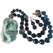 Blue, Fancy Agate, Peony Pendant. Blue Glass Beads, Necklace, Earrings