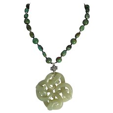 Old Openwork Intertwined Snakes, Nephrite Carved Jade, Chinese Turquoise Beads, Earrings