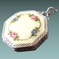 LaMode Guilloche Enamel on Sterling Miniature Ladies Compact w/ Finger Ring