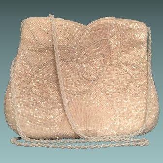 Ivory Glass Seed and Bugle Beaded Bag