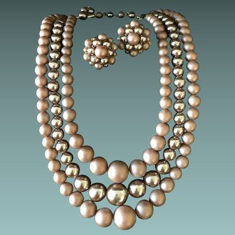 1940s Mauve Triple Strand Necklace and Matching Clip Earrings