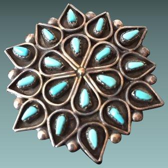 Arlita Lahi Turquoise and Sterling Silver Zuni Cluster Pin/Pendant