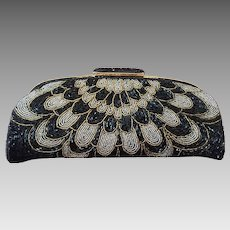 All-Over Glass Beaded Clutch in Black, Silver-tone and Gold-tone