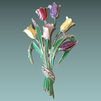 Beautifully Delicate Bouquet Pin - Guilloche Enamel on Sterling with Marcasites