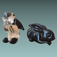 Archimede Seguso Label - Pair of 1950s Rabbits - Black & Clear/Black