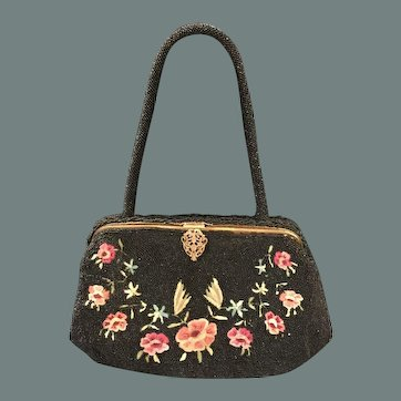 Black Micro-Bead & Hand Embroidered Handbag